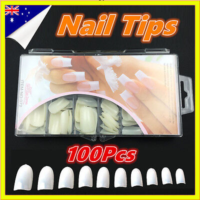 100 Pcs Fake Full Nails White Clear Manicure False Finger tips Nail Art Acrylic