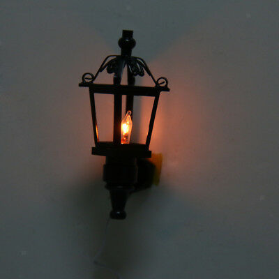 Dolls House Miniature Light 12th Scale Black Metal Lamp Outdoor Wall Light