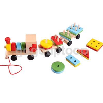 Kids Pull Along Wooden Train Stacking Building Blocks Shapes Sorting Toy Gift