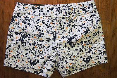BR Factory Hampton Fit Printed White w/Flowers Navy & Orange Shorts $44.99
