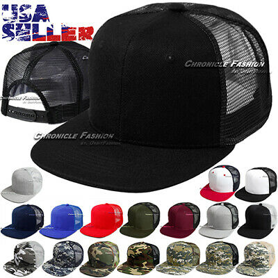 Baseball Cap Trucker Adjustable Snapback Flat Visor Hat Plain Mesh Solid Men New