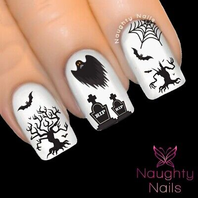 Spooky Graveyard Halloween Nail Water Transfer Decal Sticker Art Tattoo Ghost To