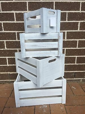 Set 4 Shabby Chic Wooden Nested Storage Crate Boxes