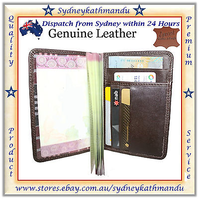 Genuine Real Leather Passport Cover Holder Quality Business Travel Wallet Case P