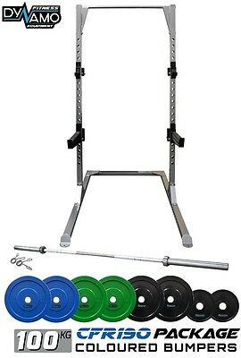 Squat Rack 100kg Coloured Bumper Weight plate Olympic Barbell Home Gym Package