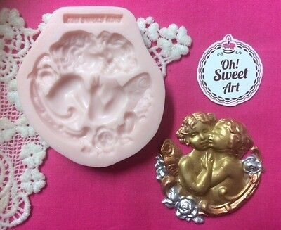 Twin angels vintage scroll silicone mold fondant cake decorating wax soap jewel