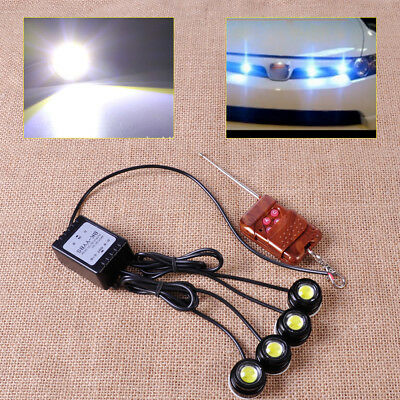 4in1 Hawkeye LED Strobe Lights Lamp DRL Wireless Remote Control  12V Eagle Eye