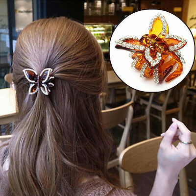 Newly Butterfly Crystal Rhinestone Claw Hairpin Women Hair Clamp Accessory Clip