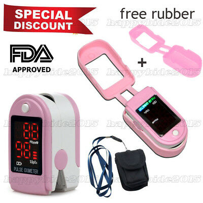 PINK Pulse Oximeter CMS50DL with Rubber case Blood Oxymeter