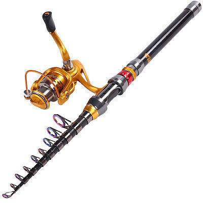 Telescopic Fishing Rod Sets Spinning Carbon Fishing Tackle Rod and Reel Combo