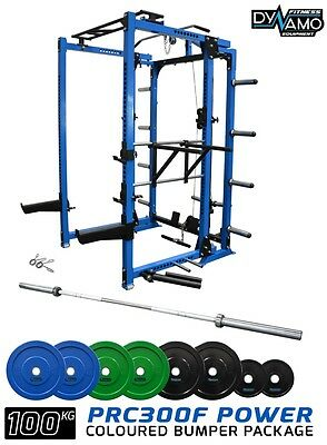 Power Rack FOLDING  with Lat Pull Down / Row  & 100KG Bumper Plates Olympic Bar