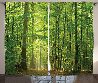 Forest in Summertime Foliage Sunlight Country Decor Print Curtain 2 Panels Set