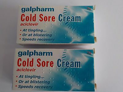 COLD SORE CREAM ACICLOVIR 25MG GALPHARM x 2 TUBES