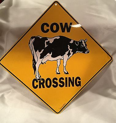 COW CROSSING road sign. Novelty.