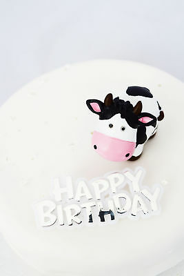 Cow Decorations Happy Birthday Cake Decorations Silver Animal Cake Topper