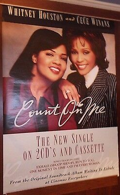 """40x60"""" SUBWAY POSTER~Whitney Houston 1995 Count On Me CeCe Winans Waiting Exhale"""