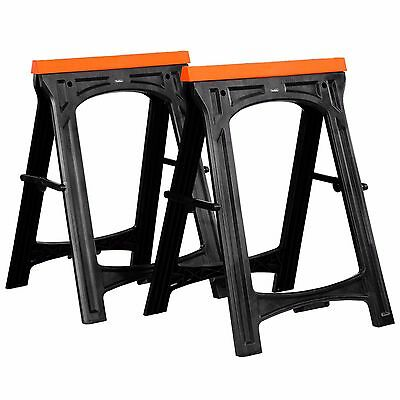 VonHaus Folding Saw Horse Trestle Twin Support Bars Cutting Stands Rubber Insert