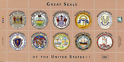 Marshall Islands 2016 MNH Great Seals of United States US USA 10v M/S I Stamps