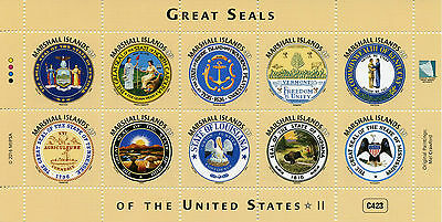 Marshall Islands 2016 MNH Great Seals of United States US USA 10v M/S II Stamps