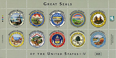 Marshall Islands 2016 MNH Great Seals of United States US USA 10v M/S IV Stamps