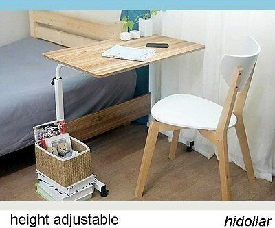 Mobile Overbed Trolley Table Laptop Ipad Study Hospital Hall Desk Height Adjust