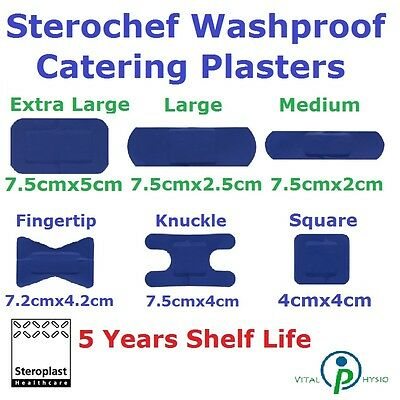Steroplast Sterochef Plaster Blue Waterproof First Aid Dressing Cuts Band Tape