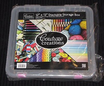 "Couture Creations 'STACKABLE STORAGE BOX' 12""x13"" Scrapbooking/Card Making NEW"