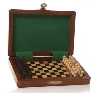 Vintage Wooden Chess Board Rosewood Travel Game Gift Box Folding Portable Set