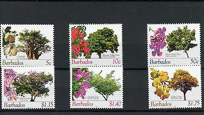 Barbados 2010 MNH Flowering Trees Reprint 6v Set Baobab Cassia Tulip Tree Stamps