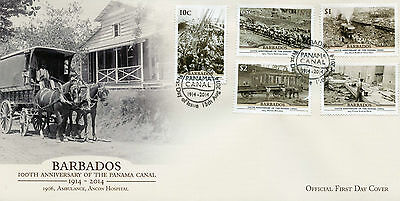 Barbados 2014 FDC Panama Canal 100th Anniv 5v Set Cover Ancon Hospital Stamps