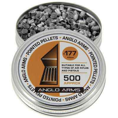 Tin Of 500 x Anglo Arms 4.5mm .177 Pointed Air Gun Rifle Pistol Shooting Pellets