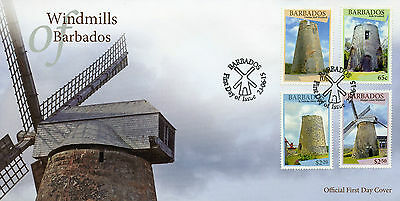 Barbados 2015 FDC Windmills 4v Set Cover Morgan Lewis Windmill Buildings Stamps