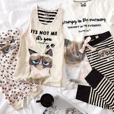 Primark Grumpy Cat Print Cosy Pyjamas T-shirt Leggings Panties Socks