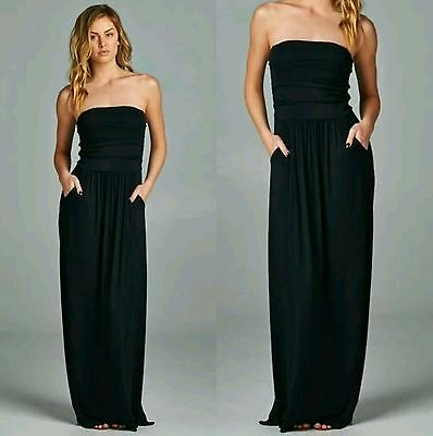 VANILLA BAY PLUS Size Black Strapless Maxi Dress with Pockets 1X 2X 3X