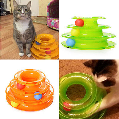 Plastic Three Levels Tower Tracks Cat Toy Amusement Shelf Play Station