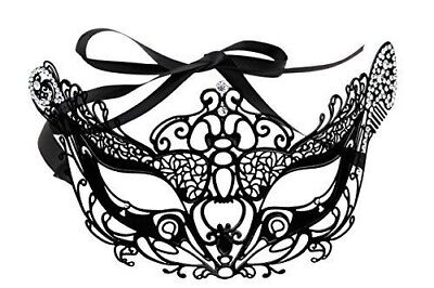Halloween Vintage Laser Cut Rhinestone Mask with Ribbon Attachment New