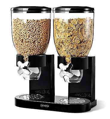 Zevro Dual Dry Food Nut Cereal Candy Indispensable Dispenser Canister BLACK