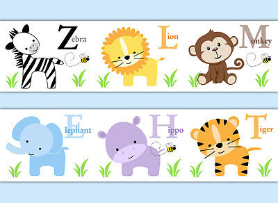 Safari Animal Wallpaper Border Baby Boy Nursery Alphabet Decal Wall Art Stickers