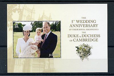 Jersey 2016 MNH Prince William & Kate 5th Wedding Anniv 1v M/S Royalty Stamps