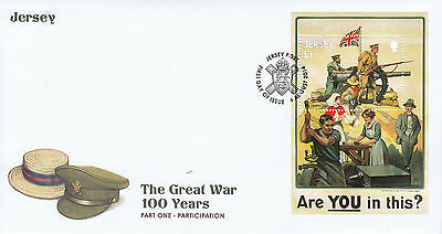 Jersey 2014 FDC WW1 Great War Pt 1 Participation 1v SS Cover Posters WWI Stamps