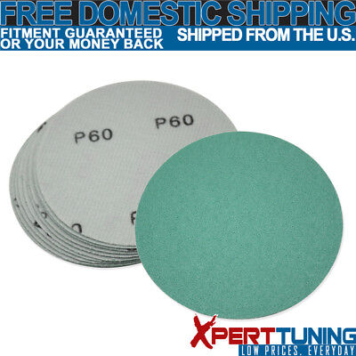 10 PC Wet Dry Green Sanding Paper Bodykit Repair Sand Disc 60 Grit 5 Inch PSA