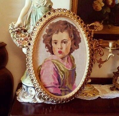 Beautiful Ornate Gold framed Tapestry behind glass Italian French Louis Style
