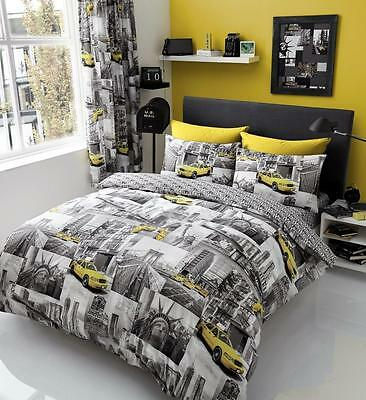 New York Patchy Grey Duvet Cover Sets Quilt Cover Sets Reversible Bedding Sets