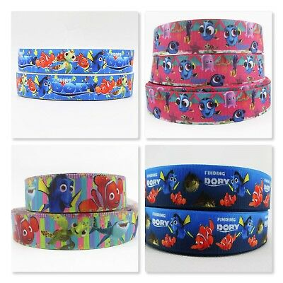 Grosgrain Ribbon - 7/8 & 1 Inch - Finding Dory and Nemo - Print by the Metre