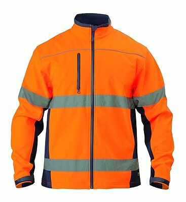 6Xl Bisley Soft Shell Jacket Orange/navy With Reflective Tape Bj6059T