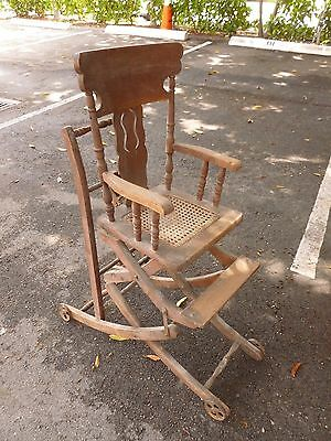 Very Rare Victorian Combination Rocking Chair / High Chair With Cast Iron Wheels