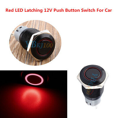 16mm 3A 12V Car Push Button Toggle ON-OFF Metal Red LED Light Switch