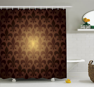 Royal Lily Flower Themed Floral Baroque Style Modern Decor Shower Curtain Set