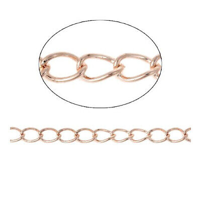 Continuous Length 10 Metres Rose Gold Brass 3 x 5mm Curb Chain CH2515