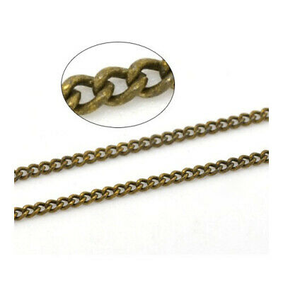 5 Metre Silver Plated Copper 1.3 x 1.7mm Curb Chain Charming Beads CH1840